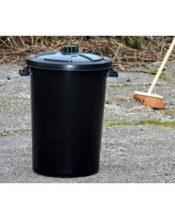 90l Black Dustbin
